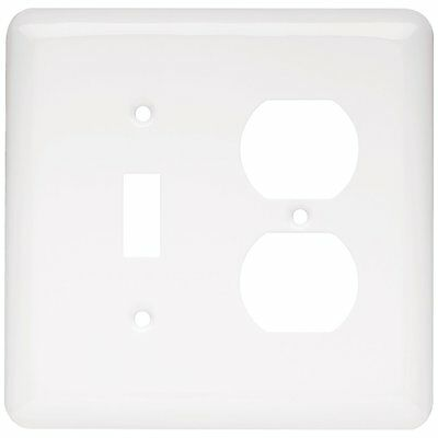 64363 White Stamped Single Switch Single Duplex Outlet Cover Wall Plate