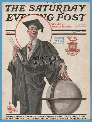 1920 Saturday Evening Post The Graduate JC Leyendecker Art Front Cover Only