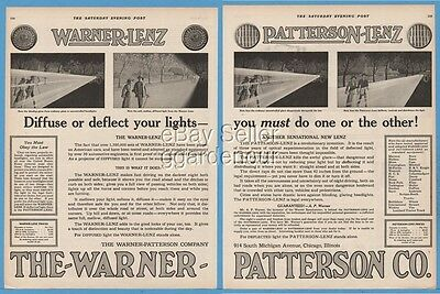 1920 Warner Patterson Lenz Automobile Headlights Diffuse Or Deflect Art Print Ad