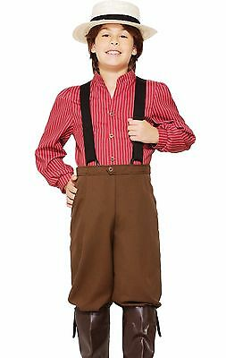 Pioneer Boy Prairie Costume Dress Childs Boys Thanksgiving Pilgrim - S, M, L -
