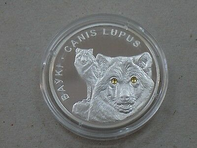 2007 Belarus 20 Roubles Crystal In Eyes Coin Silver Proof  Bayk Canis Lupus