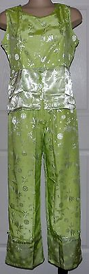 Oriental Silk Outfit Womens Asian Apple Green Pant Set Sleevelss Top Size M NWOT