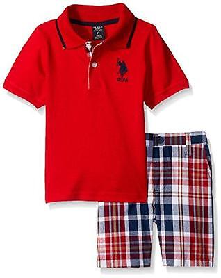 U.S. Polo Assn Big Boys S/S Polo Red 2pc Short Set Size 8 10 12