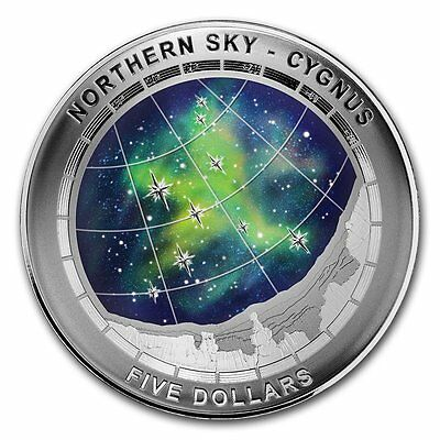 "2016 Australia $5 Colored & Curved Silver Proof Coin ""Northern Sky - Cygnus"""