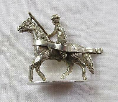 Vintage Miniature Figural Silver Model Of Horse & Rider On Oval Plinth