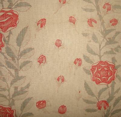 BEAUTIFUL FRAGMENT 19th CENTURY FRENCH BLOCK PRINT LINEN, ROSES & ROSEBUDS