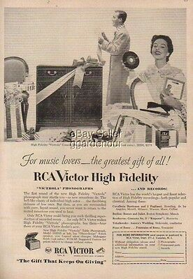 1953 RCA Victrola 3HS6 Phonograph 45 Record player Ad