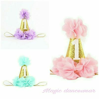 Baby First 1st Birthday Hat Cake Smash outfit Party Photoshoot Dress Girls Prop