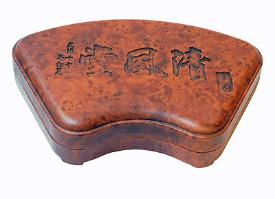 Chinese Fan Shape Calligraphy Carving Box with Ink Stone Pad cs2155