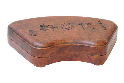 Chinese Fan Shape Calligraphy Carving Box with Ink Stone Pad cs2156