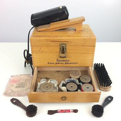 Vintage Ronson Roto-Shine Magnetic Electric Shoe Polisher with Wood Dovetail Box