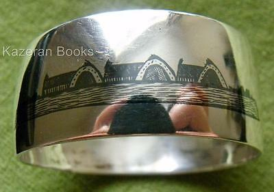 Antique Niello & Solid Silver Middle East Iraq Pictorial Oval Napkin Ring
