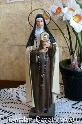 """Beautifully Detailed 8"""" ST. CLARE CLAIRE STATUE Plaster / Chalkware ~ NEW!"""