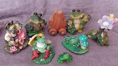 14  Collectible Frog Figurines Poly-Resin, Vintage Avon Bottles