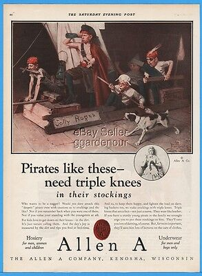 1924 Allen A Kenosha WI Stockings Jolly Roger Boy Pirates Dog Norman Rockwell Ad