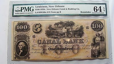 1850's $100 Canal Bank, New Orleans PMG 64 EPQ