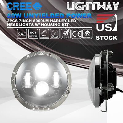 7Inch 80W CREE LED Headlight Daymaker w/ Mounting Ring Bracket Harley Davidson