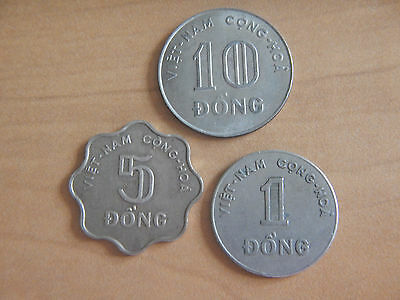 1964-1968 3 Coin Lot South Vietnam World Foreign 1, 5, 10 Dong Coins Rice Plant