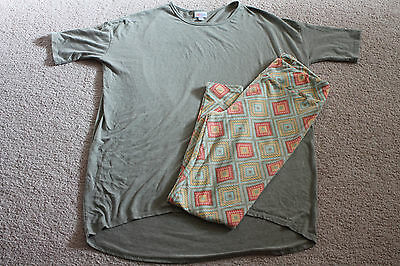 Lularoe Irma Women's M Sage Green Top + Tall & Curvy TC Leggings
