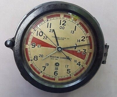 Chelsea Radio Room Clock, Maritime Comm., WWII Veteran, 12E Movement, Runs Well