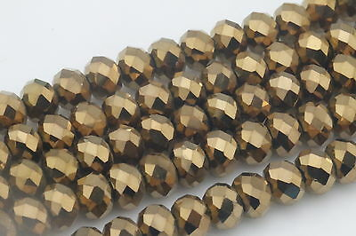 DIY Wholesale 70PCS Gold Crystal Glass Bead Round Loose Spacer Beads 4mm ZD159