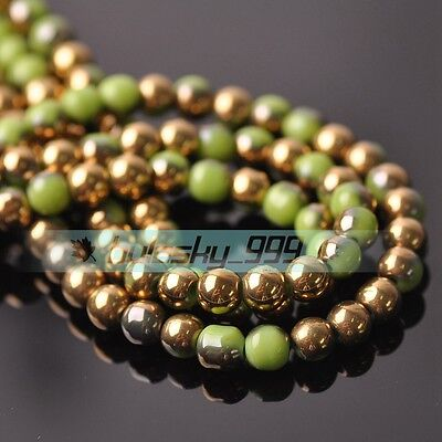 72pcs 6mm Round Crystal Glass Loose Spacer Beads Jade Olive Green & Gold
