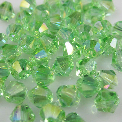 NEW  Free shipping 100pcs 4mm Glass Crystal #5301 Bicone beads Green AB  C2
