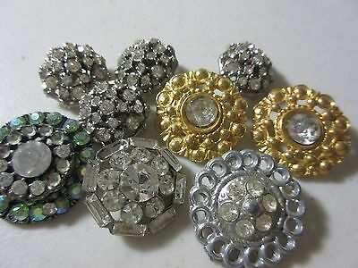 Antique Vintage Lot Of Metal Rhinestone Buttons