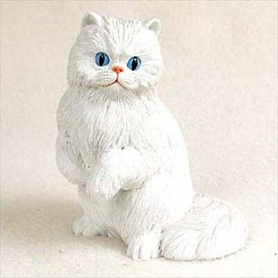 Persian White Cat Sitting Hand Painted Canine Collectable Figurine Statue