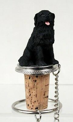Newfoundland Newfie Dog Hand Painted Resin Figurine Wine Bottle Stopper