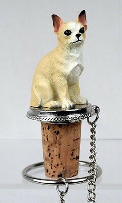 Chihuahua Tan Dog Hand Painted Resin Figurine Wine Bottle Stopper