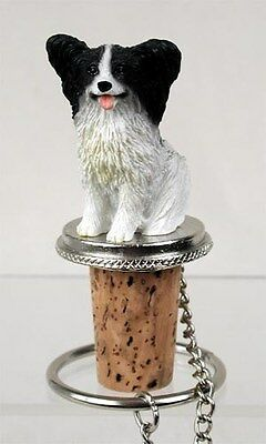 PAPILLON Black White Dog Hand Painted Resin Figurine Wine Bottle Stopper