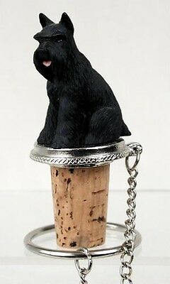 SCHNAUZER Black Cropped Dog Hand Painted Resin Figurine Wine Bottle Stopper