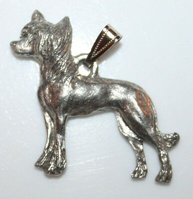 CHINESE CRESTED Dog Harris Fine Pewter Pendant USA Made