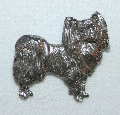 Papillon Dog Fine PEWTER PIN Jewelry Art USA Made