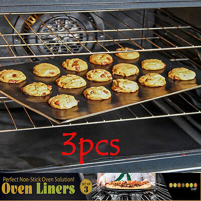 3Pcs Universal Teflon Oven Cooker Liner Non-Stick Heavy Duty Lining 40 x 50 cm