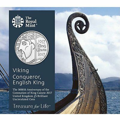"2017 United Kingdom (UK) £5 BU Coin ""Coronation of King Canute 1000 Years"""