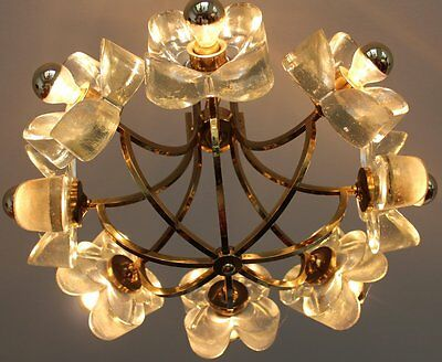 TOP PIECE !!!!  MID CENTURY MAZZEGA Italy Glass Chandelier hollywood regency