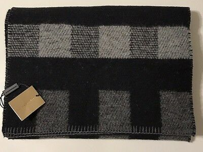 NWT BURBERRY Men's DARK GREY GIANT CHECK WOOL/CASHMERE BLANKET SCARF
