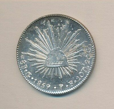 MEXICO SILVER 8 REALES 1859 GoP CHOICE ORIGINAL BU - PROOFLIKE