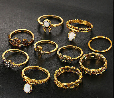 Wholesale 10pcs Flower Ring Sets Vintage Turkish Punk Elephant Knuckle Rings