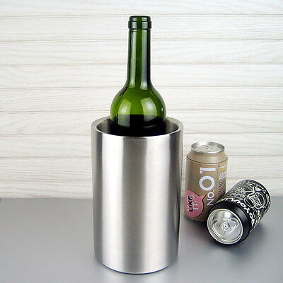 Stainless Steel Wine Bottle Cooler Ice Bucket Double Wall Brushed Finish Silver