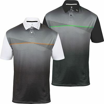 New Island Green Striped Polo Popper Fastened Placket Mens Golf Polo Shirt