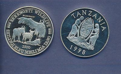 Tanzania - Large 5 Oz. Pure .999 Silver - Wildebeest - 1998 - 2500 Shiling