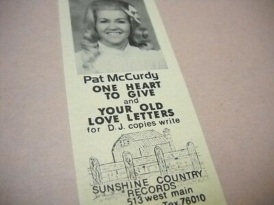 PAT McCURDY has One Heart To Give original 1974 music biz promo trade advert