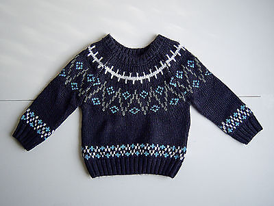 Baby Boys Winter Jumper Navy 9-12 Months Warm Thick Winter Clothes Xmas