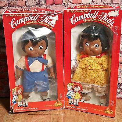 "1984 Eugene Campbell Soup Kids Boy & Girl 17"" African American Dolls IOB"