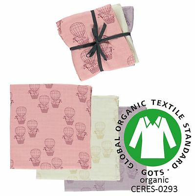 NEW Smafolk Pink Hot Air Balloon Organic Burp Cloth/ Muslin Set of 3 Baby Gift