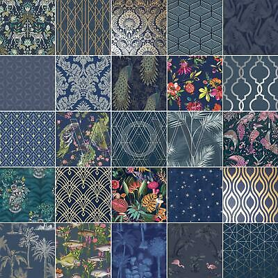 Midnight Blue Dark Navy Wallpaper - Glitterati Floral Flamingo Geometric Damask