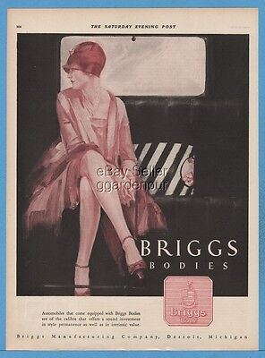 1927 Briggs Bodies Car Body Detroit MI Pretty Woman Cloche Hat Gloves Art Ad